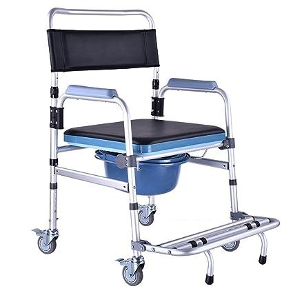 Silla móvil de la comodidad de los ancianos silla de ruedas del retrete de las mujeres ...