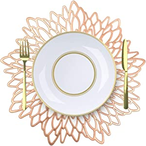 MLADEN Hibiscus Placemats Set of 8 Round Place Mats, for Wedding Dining Table Mats Kitchen Decor (Rose Gold)