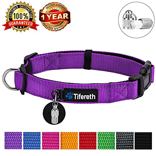 Tifereth Dog Collars Nylon Buckle Dog Collar Comfortable Dog Collar Padded and Light Weight 8 Colors Small Medium Large Sizes (Free Pet ID Tag) (Large, Purple)