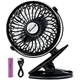 Clip on Fan, Searik Portable Battery Operated Fan Mini Personal Fan 360 Rotating Table Fan with 2600mAh Rechargeable Battery for Baby Stroller, Home, Office, Dorm, Library, Camping, Indoor and Outdoor