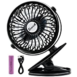 Searik Clip on Battery Operated Fan, Portable Mini Personal Table Fan 2600mAh Rechargeable Battery Baby Stroller, Home, Office, Dorm, Library, Outdoor
