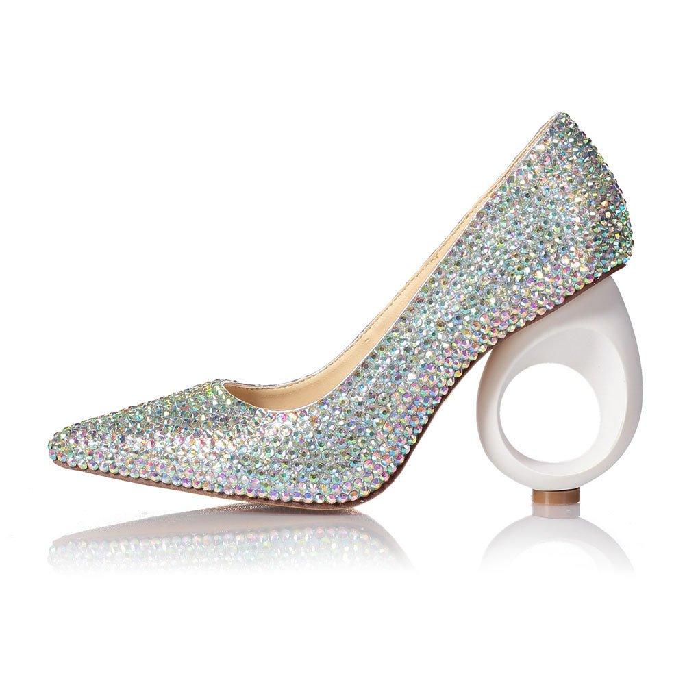 Tacones Altos para Mujeres Acentuados Boca Baja Moda de Diamantes de Colores Tacón Redondo Zapatos para Discoteca 35 EU|Color
