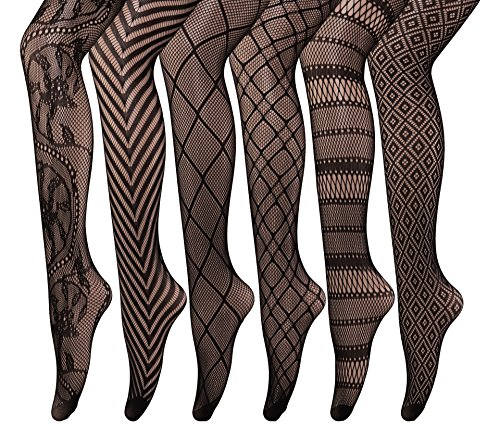 CozyWow 4/6 Pairs Women's Hollow Out Fishnet Sheer Patterned Pantyhose Tights 81