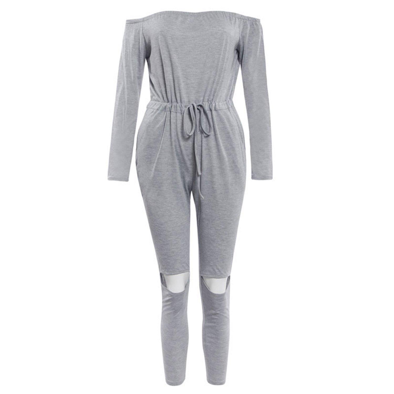 ylovego Pockets Female Off Shoulder Top Knee Hole Elastic Waist Romper Grey M