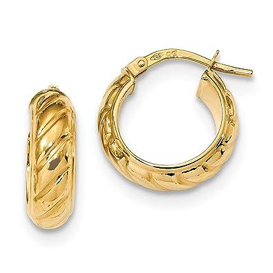 9774d7e0bf44 Juego de aros de oro amarillo de 14 quilates para mujer con diseño de  corazón