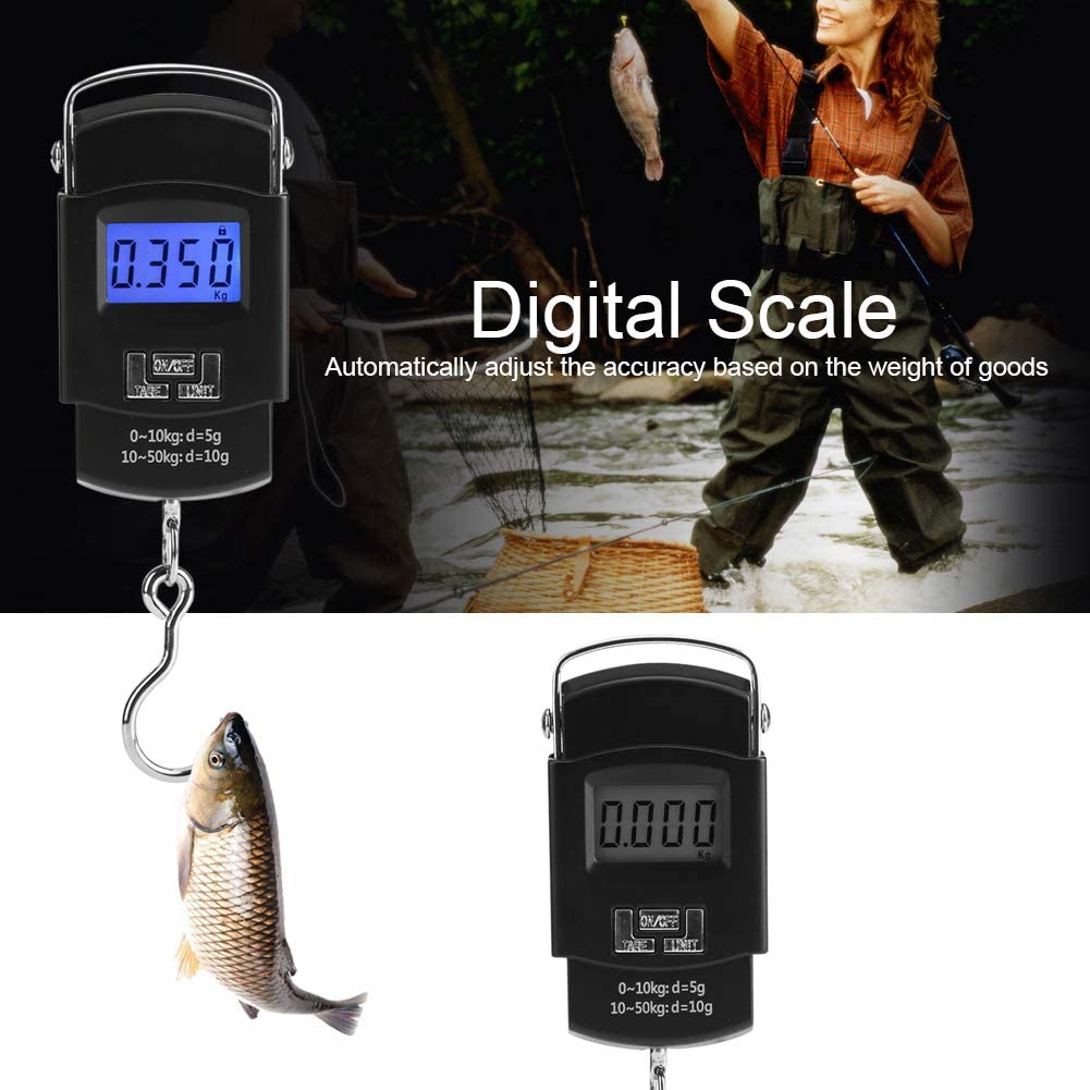 AUNMAS 50kg Luggage Scale LCD Digital Hanging Electronic Mini Pocket Fishing Hook Scales