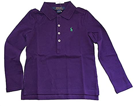 5d8b2f00 Amazon.com: Ralph Lauren Little Girl STRETCH MESH Long Sleeve Polo Shirt 5  COLLEGE Purple: Clothing