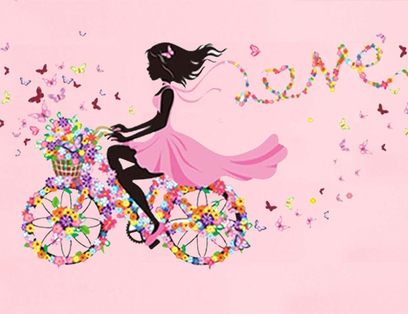 Girl Bicycle Butterfly Wall Decal, Girl Riding Bicycle With Butterfly Wall Sticker, Peel and Stick Removable Flower Fairy Wall Stickers Wall Mural for Kids Girls Nursery Bedroom Living Room Home Decor