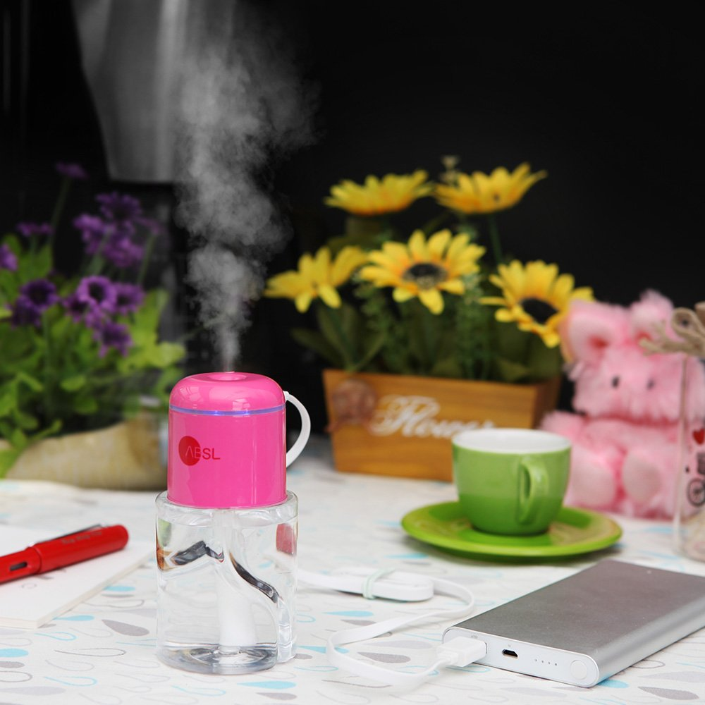 ABSL Portable Humidifier with USB for mist moisturizing car, office, desk, room, travel (Pink)