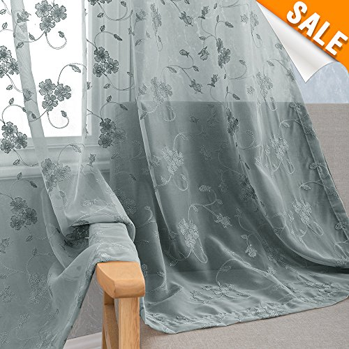 Floral Embroidery Sheer Curtain Panels for Bedroom 95 inches Long Flower Embroidered Rustic Voile Window Curtains Rod Pocket Living Room Drapes 2 Panels, Grey