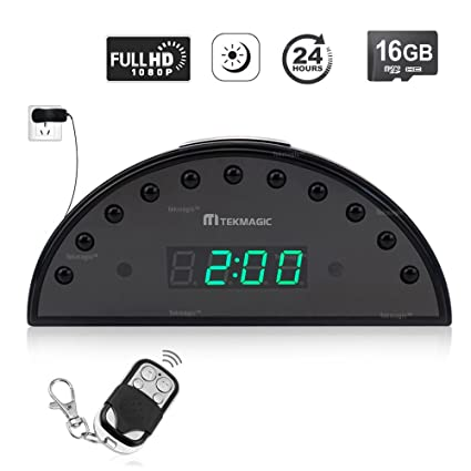 TEKMAGIC 16GB 1920x1080P HD Despertador Reloj Cámara Espía Mini Detector de Movimiento DV Videocámara Soporte de