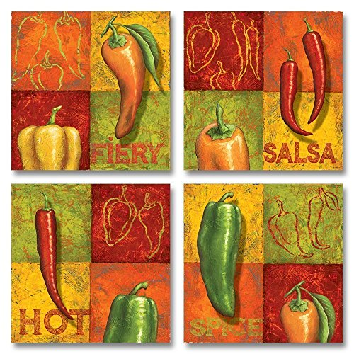Classic Chili Prints; Perfect to Spruce up Your Kitchen! Set of Four