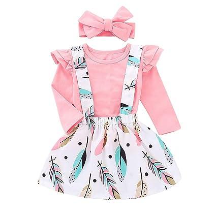 372c0d0288494 (プタス)Putars 子供服 3PCS 幼児の赤ちゃん女の子シャーリングトップス羽プリントストラップ
