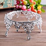 Vintage luxury crown round bridal Crown Bridal Jewelry boutique headdress handmade crystal wedding ornaments , silver bottom white