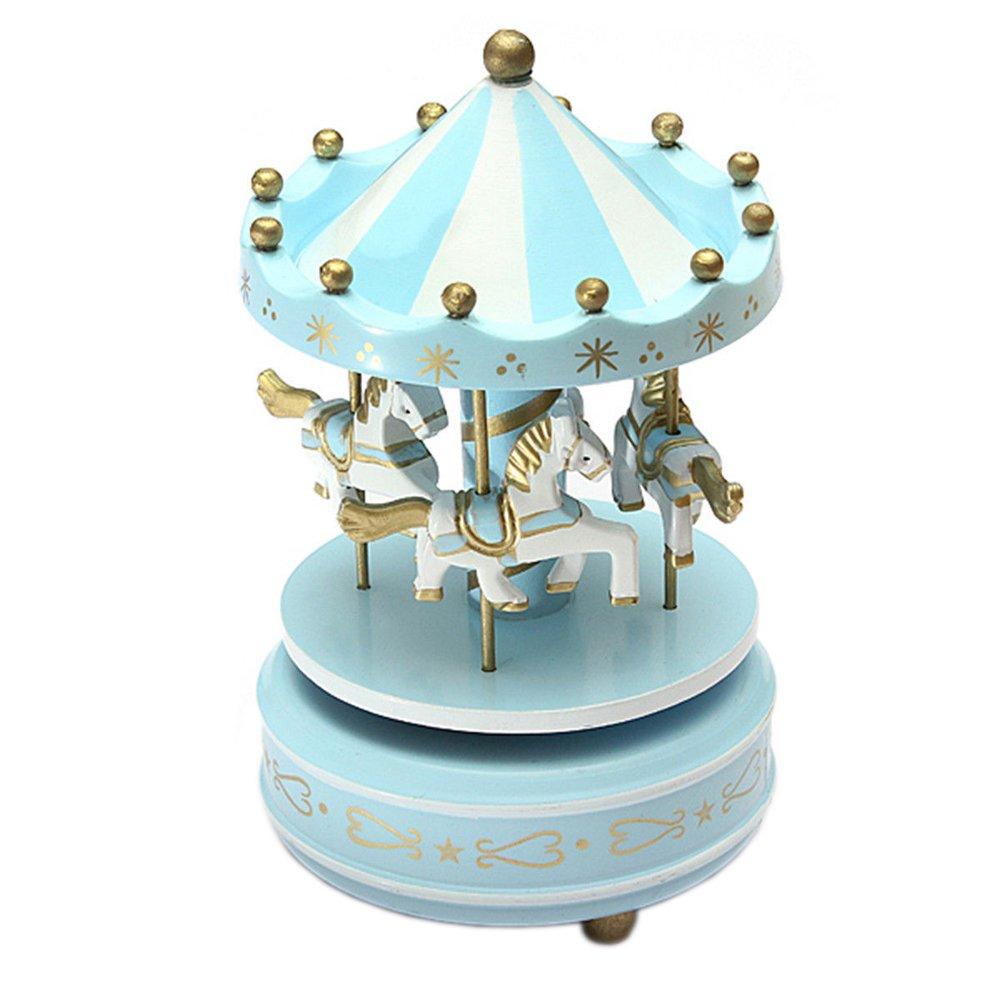 憧れの charlgainc four- four- Horse木製カルーセル音楽ボックス ブルー ブルー B01N057RDS charlgainc ライトブルー, 津山町:0db3818f --- arcego.dominiotemporario.com