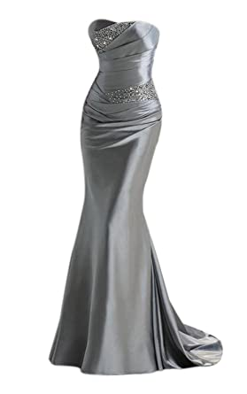 Rongstore WomenSatin Mermaid Long Mother Of The Bride Dress Silver US4