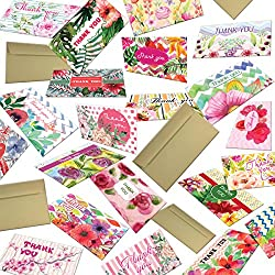 """Hatinkaart - Thank You Card - 5.9"""" x 3.55""""- Set of 40 Different Double-Sided Designs - with 40 Kraft Envelopes - Type Standard"""