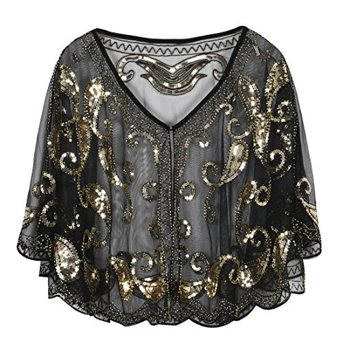 PrettyGuide Women's Evening Cape 1920s Vintage Cocktail Flapper Beaded Shawl Gold]()