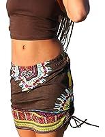 XTX Womens African Print Elastic Waist Bodycon Club Mini Skirt