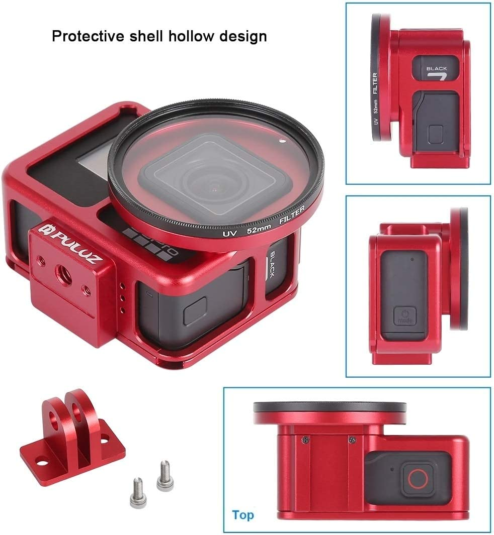 Camera Products Housing Shell CNC Aluminum Alloy Protective Cage with Insurance Frame /& 52mm UV Lens for GoPro HERO7 Black //6//5 Black Color : Color1 Camcorder Cases