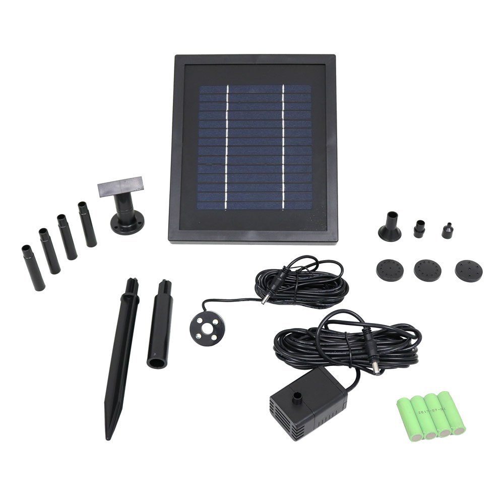 Sunnydaze Outdoor Solar Pump and Panel Fountain Kit with Battery Pack and LED Light, 65 GPH, 47-Inch Lift