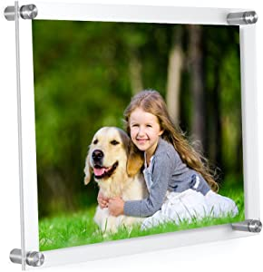 Meetu Acrylic Picture Frames 8.5 x 11 -Inner 8x10 Photo Frames (2 Pack)- Wall Frames To Display Family Pictures, Baby Pictures, Documents, Arts, Dog Pictures -Make Clear Float 3D Look