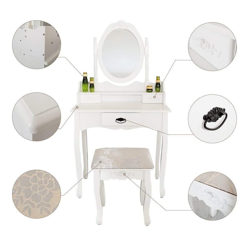 Joolihome Makeup Vanity White Table Set 3 Drawers Wood Bedroom Dressing Table Stool Set with Oval Mirror by Joolihome (Image #5)