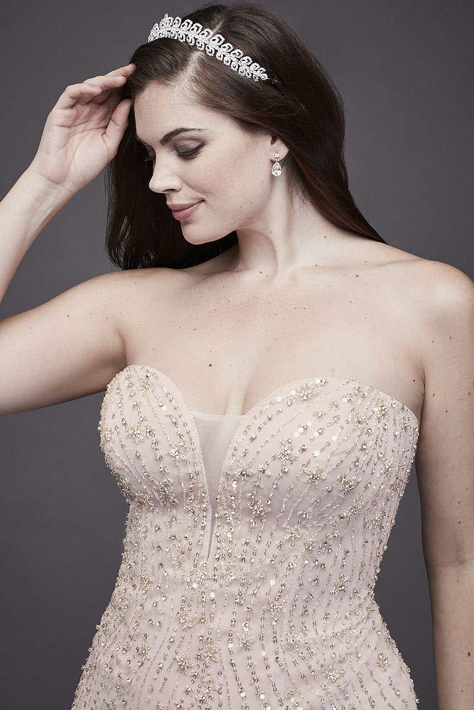 David\'s Bridal Beaded Tulle Trumpet Plus Size Wedding Dress Style 9SWG823