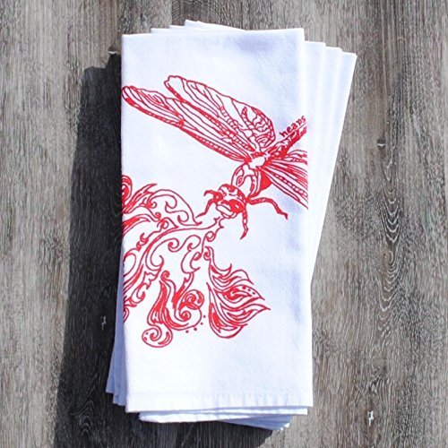 Christmas Tablescape Decor - Handmade red fire breathing dragonfly print cotton napkins - Set of 4 by Heaps Handworks
