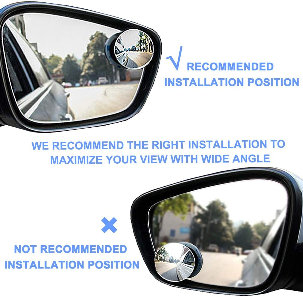 Round HD Glass Convex Wide Angle Rear View Blindspot Side Eliminator Mirror with Adjustable Stick Base Universal for Cars SUV and Trucks Blind Spot Mirrors