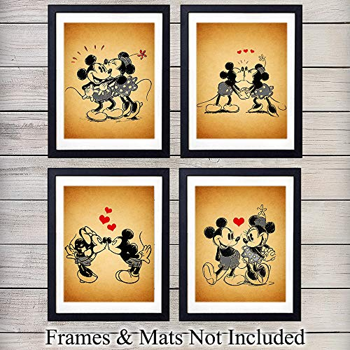 Mickey Mouse and Minnie Mouse Unframed Wall Art Prints - Perfect Gift For Disney Fans, Great For Home Decor - Set of Four (8X10) Vintage Photos