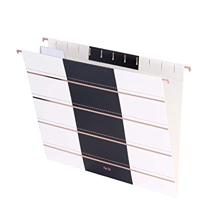 Hanging File Folders Decorative With 1 5 Cut Adjustable Tab Stylish Modern Designer Recycled Extra Durable 12pcs Pack Letter Size Rose Gold Stripes