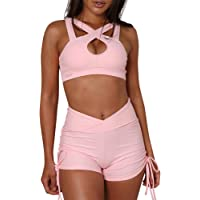 feelingood Women Bodycon Hollow Crop Top + Shorts Cut Out Summer Tracksuit Set Outfit