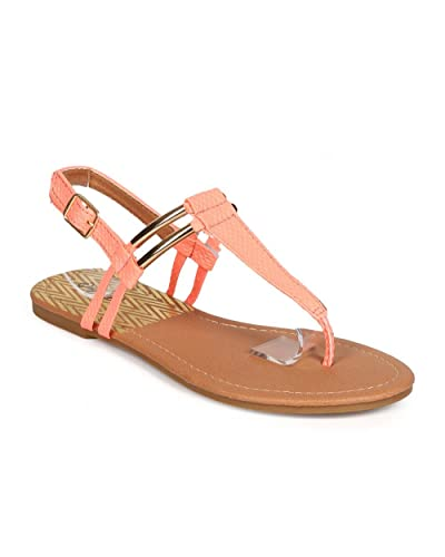 9d19f1e4db1c Qupid Women Snakeskin Gold-Plated Slingback T-Strap Thong Sandal DH48 -  Coral (