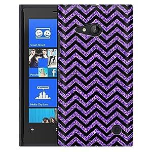 Nokia Lumia 730 Case, Slim Fit Snap On Cover by Trek Chevron ZigZag Glitter Purple Black Case