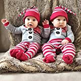 Christmas Costume, Misaky Newborn Baby Girls Boys One-Piece Rompers +Hat 2Pcs Outfit Set