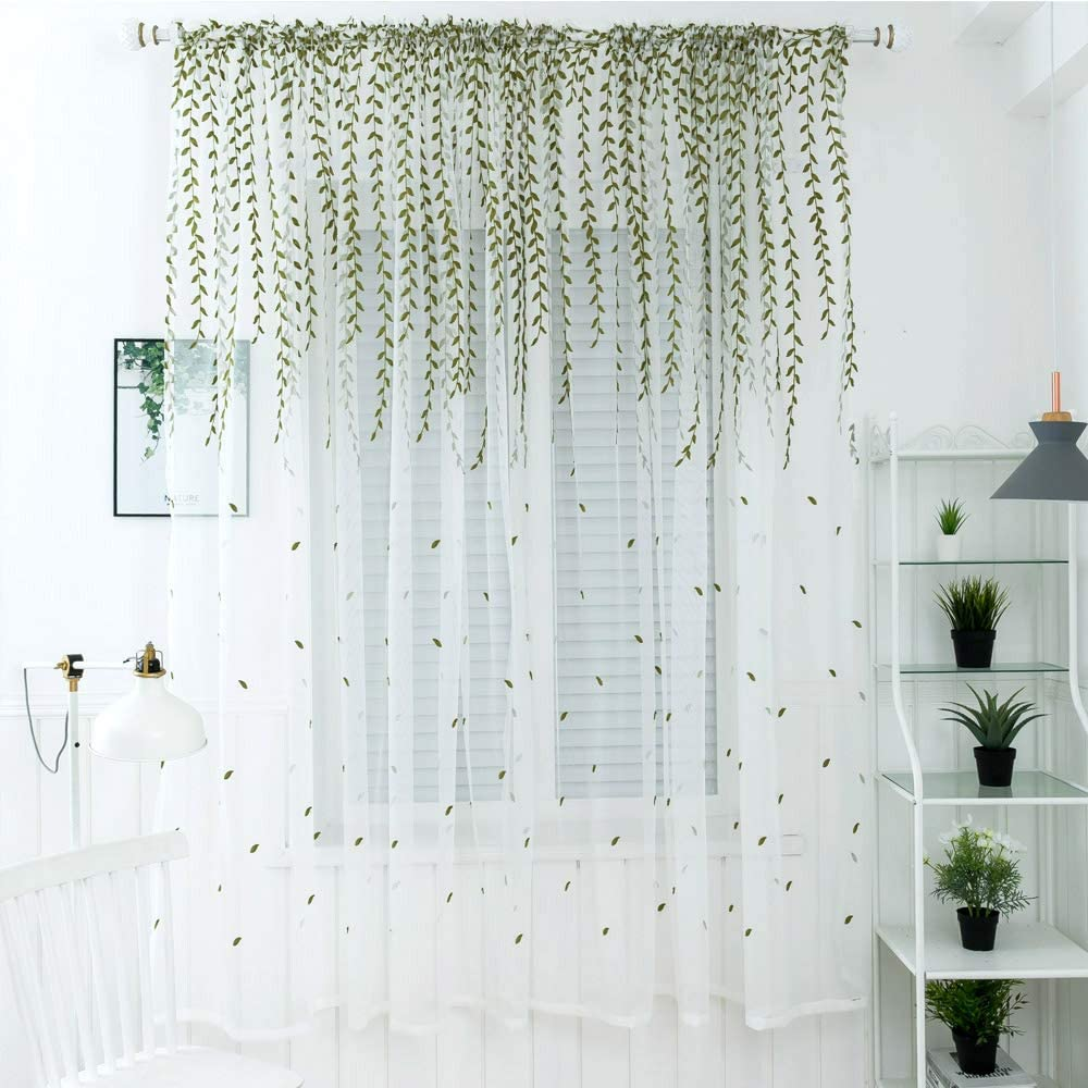Molaxhome Green Lace Panels 39x78 inch, Lace Curtain Embroidered Leaf Floral White Sheer Window Scarfs for Living Room Bedroom Window Treatment