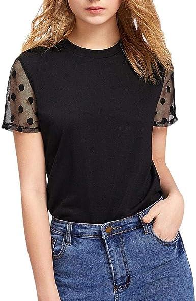 VECDY Elegante Camisa Mujeres Polka Dot para Mujer, Panel De Malla, Manga Corta Camiseta Negra Camiseta Casual Blusa Suave Blusas Top: Amazon.es: Ropa y accesorios