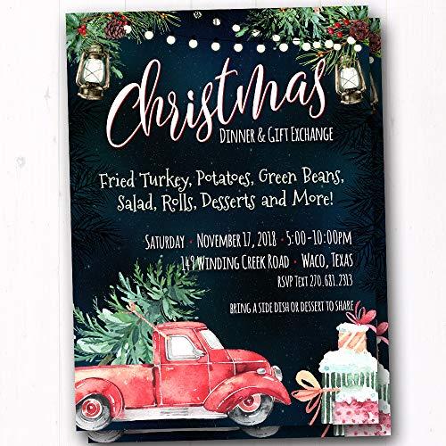 Winter Bonfire Birthday Invitations - Kids Christmas Party Invites - Hot Cocoa Chocolate Party Invites - Rustic Bonfire Invitations - Campfire and S'mores Invites - Set of 20 Printed Invites]()
