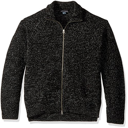 French Connection Men's Twisted Rib Zip Up Sweater, Black L