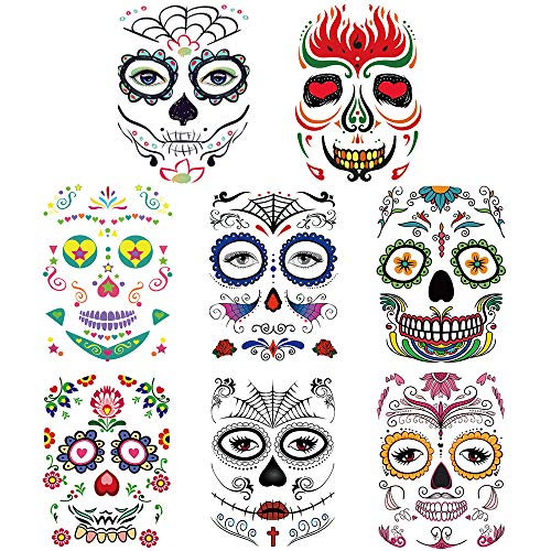 Halloween Temporary Tattoos Face (8 Pack), Sugar Skull Stickers Day of The Dead Scary Makeup Makeup Ideas Masquerade and
