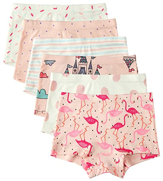 897d4ad384d9 Amazon.com: 6 Pack Little Girl Underwear Cotton Baby Girls Boyshort Panties  Toddler Girl's Undies: Clothing