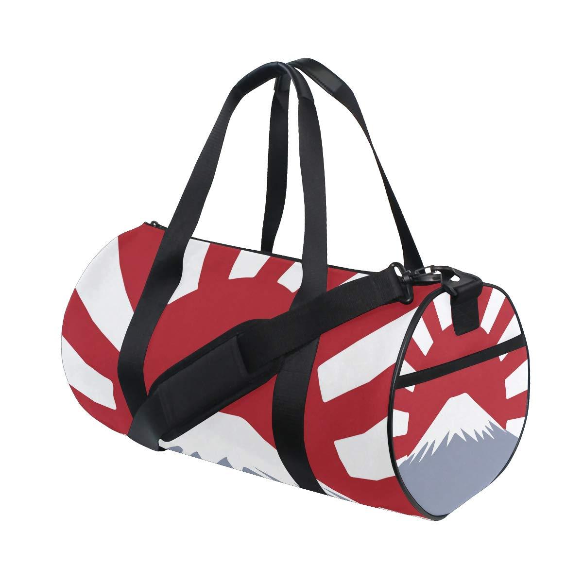 Sports Gym Duffel Barrel Bag Flag Of Japan Fuji Travel Luggage Handbag for Men Women