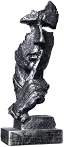 """Head Thinker Man Statue Sculpture Keep Slience Sculpture for Office Decoration Sliver Color-13.5"""" Tall"""