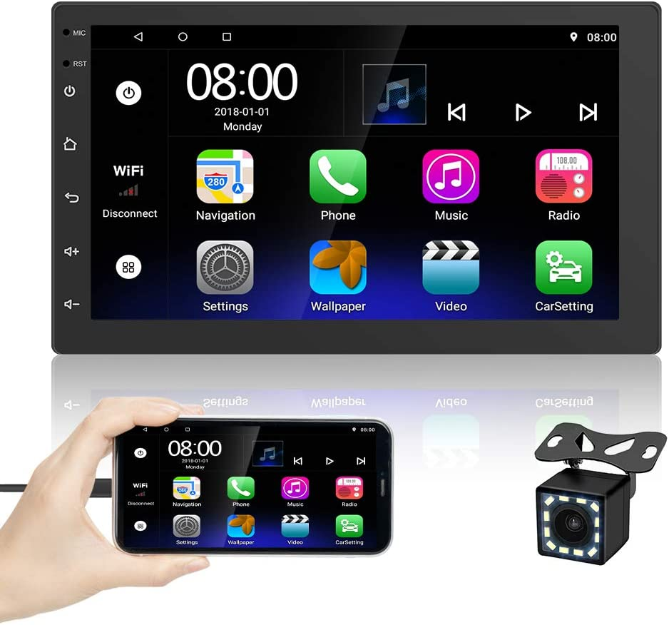 UNITOPSCI Double Din Android Car Stereo with GPS Car Radio with Bluetooth 7 Inch 2.5D Touch Screen Car Multimedia In Dash Navigation Stereo Support WiFi FM Radio DVR Dual USB Mirror Link Backup Camera