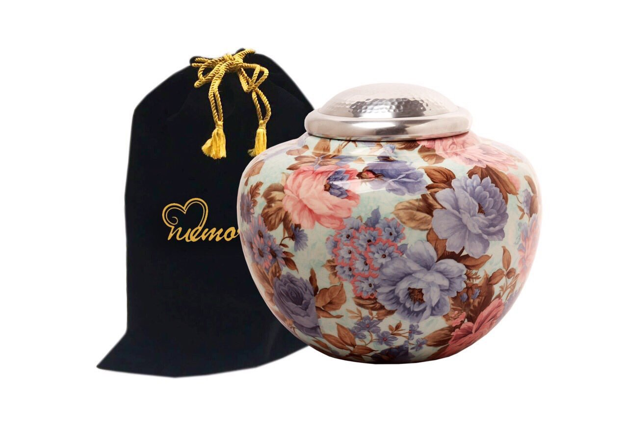 MEMORIALS 4U Floral Cremation Urn with Silver Lid - Floral Garden Adult Funeral Urn - Handcrafted Flower Urn -Affordable Urn for Ashes by MEMORIALS 4U