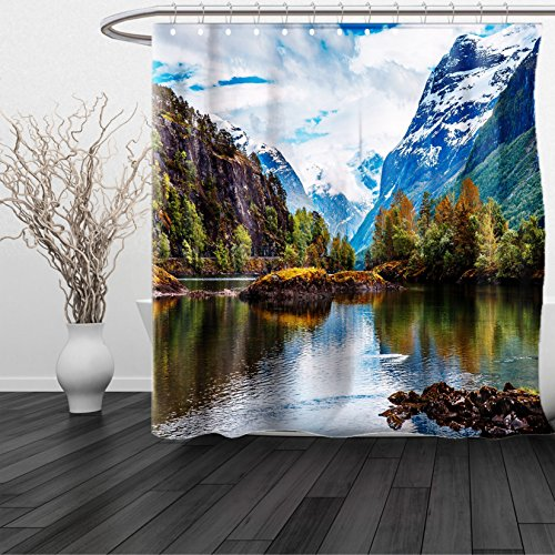 HAIXIA Shower Curtain Nature Norway Mountain Range with Snowy Peaks by the Lake Fishing Nordic Northern Landscape - Glasses Vercase