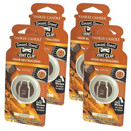 Yankee Candle Smart Scent Vent Clip Odor Neutralizing Car Air Freshener, Leather (Pack of 4)
