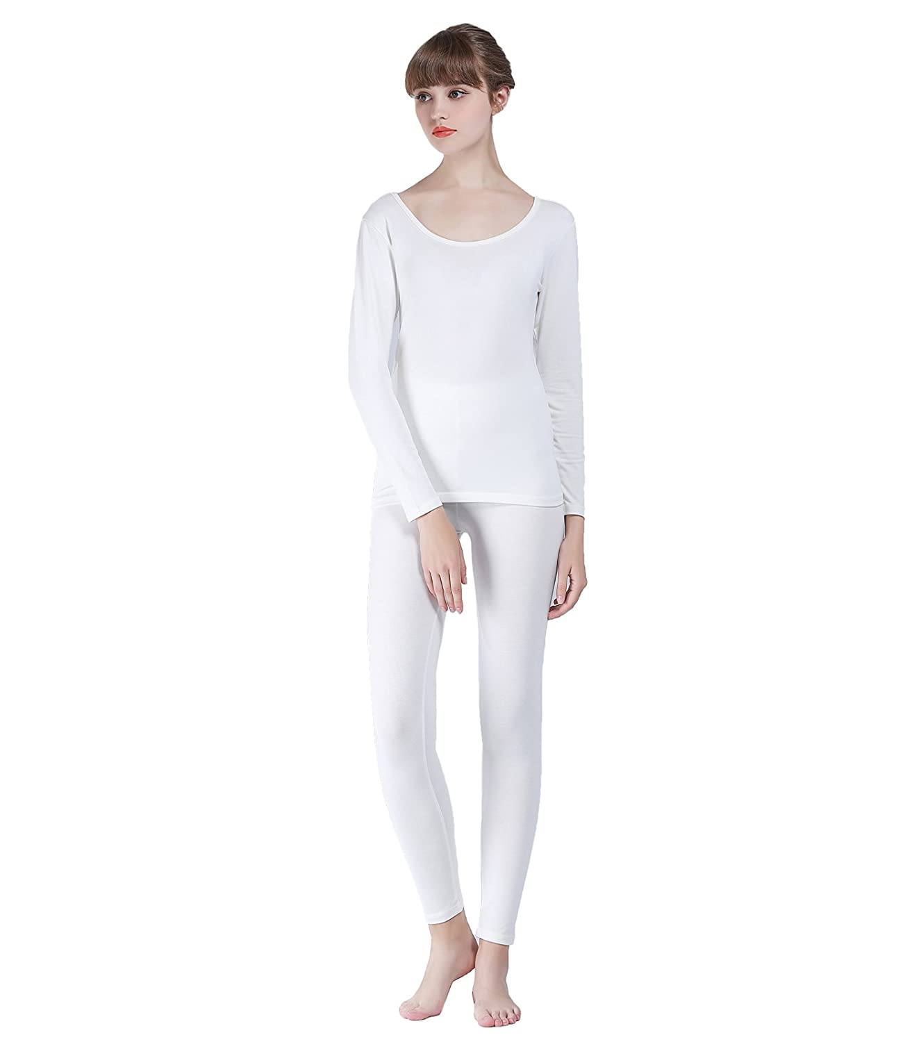 Liang Rou Women's Round Neck Thin Thermal Underwear Long Johns Set MS561-P