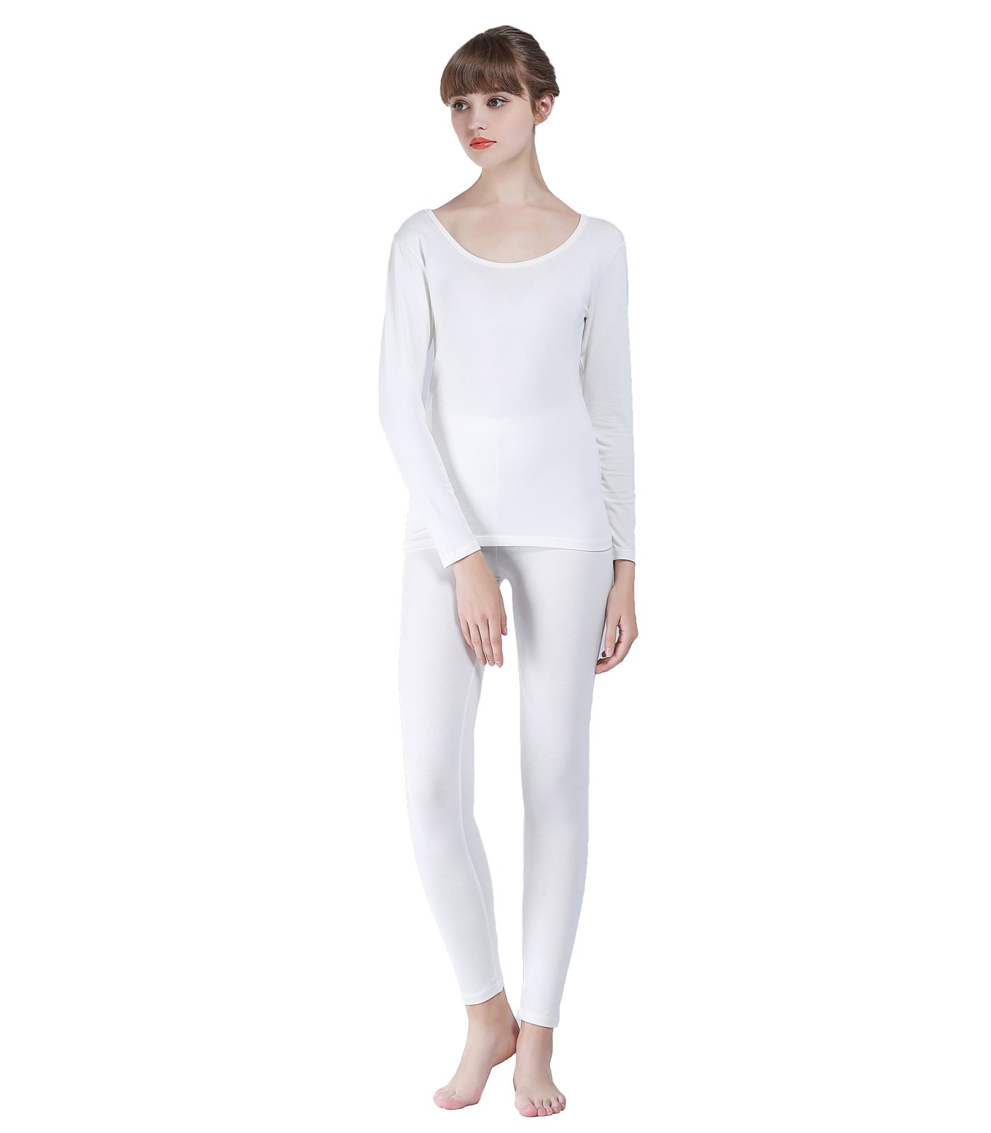 Liang Rou Women's Round Neck Thermal Long Johns Underwear Set Off-White L